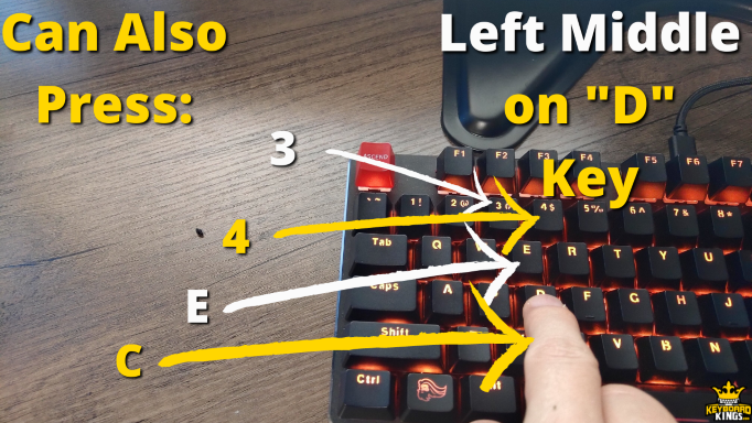 Keys Left Middle Finger can Press in Addition to D