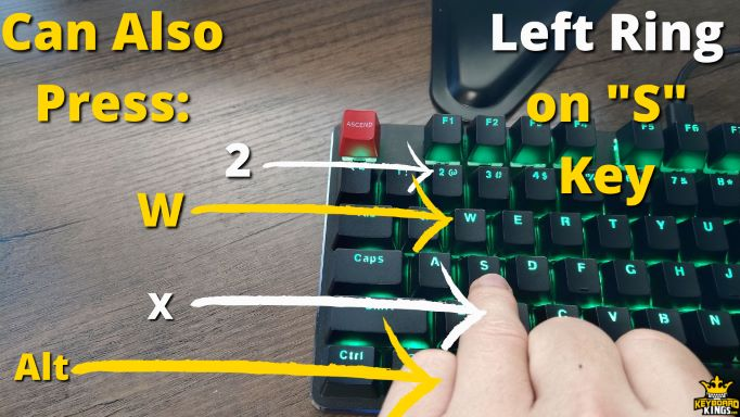 Keys Left Ring Finger can Press in Addition to S