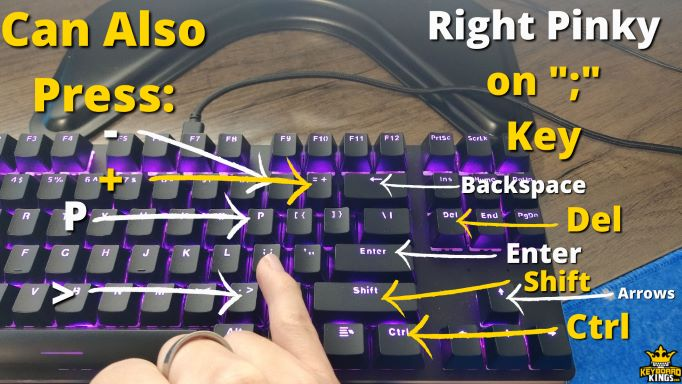 Keys Right Pinky Finger can Press in Addition to ;